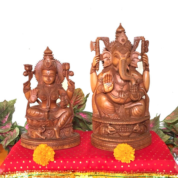 Laxmi Ganesh Wooden Idol - Decorative Figurine
