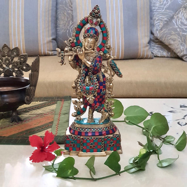 "14"" Lord Krishna Brass Idol - Handcrafted turquoise Inlay - Decorative Figurine-Crafts N Chisel-Indian Handicrafts Online USA"