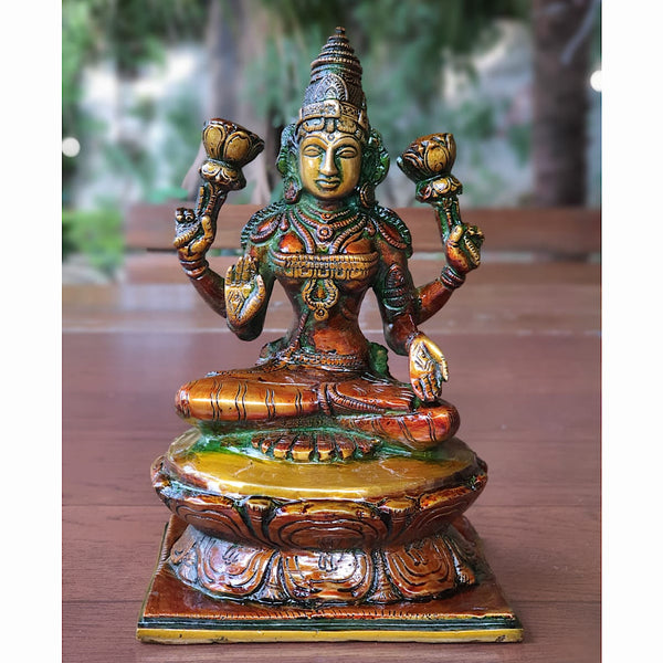 Goddess Laxmi Brass Idol - Decorative Figurine - crafts n chisel - indian home decor usa