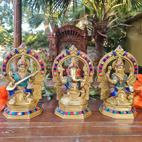 Lakshmi Ganesh Saraswati Brass Idol - Stonework - Decorative Home Decor-Crafts N Chisel-Indian Handicrafts Online USA