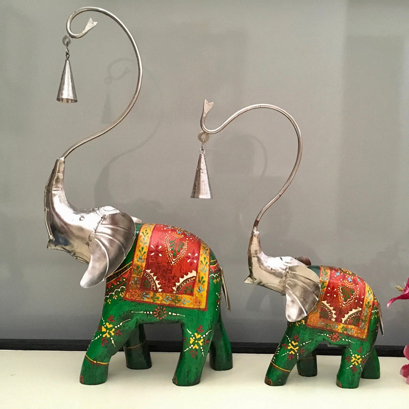 Decorative Wooden Metallic Elephant With Bell (set of 2) - Crafts N Chisel - Indian home decor - Online USA