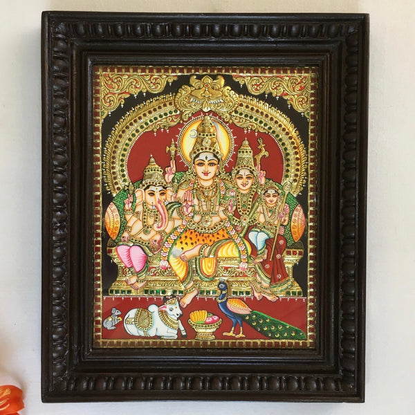 Shiv Parivar Tanjore Painting - Traditional Wall Art - Crafts N Chisel - Indian home decor - Online USA