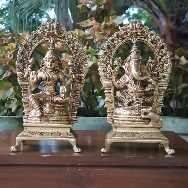 Lakshmi Ganesh Brass Idol - Decorative Home Decor-Crafts N Chisel-Indian Handicrafts Online USA