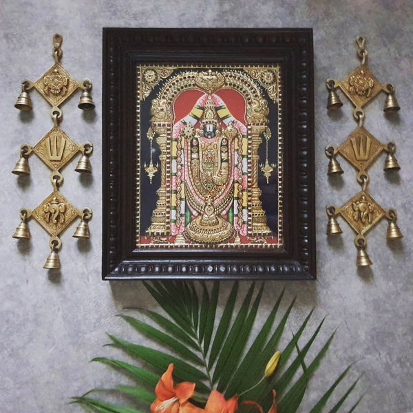 Lord Tirupati Balaji - Venkateshwara 3D Tanjore Painting & Hanging Bell (Set of 3) - Tradtional Wall Art-Crafts N Chisel-Indian Handicrafts Online USA