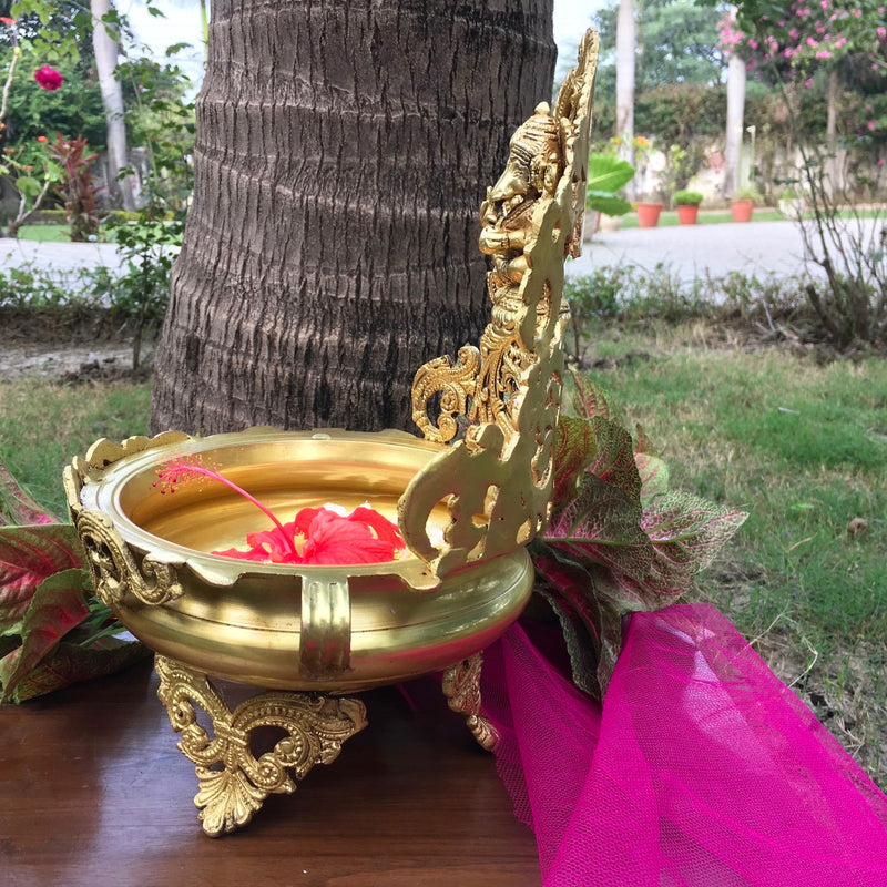 "12"" Decorative Brass Urli With Lord Ganesha"