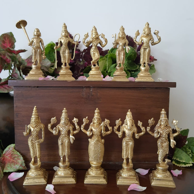 "6"" Lord Vishnu Dashavtar Brass Idols - Decorative Home Decor"