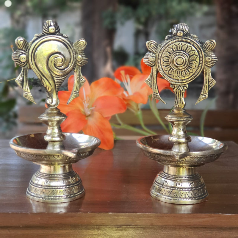 Shanku & Chakra Diya (Set of 2) - Handmade Brass lamp - Decorative
