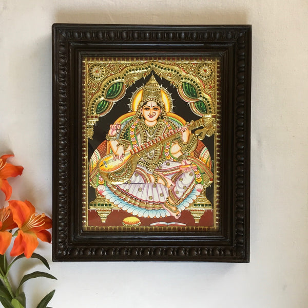Goddess Saraswati Tanjore Painting - Traditional Wall Art - Crafts N Chisel - Indian home decor - Online USA