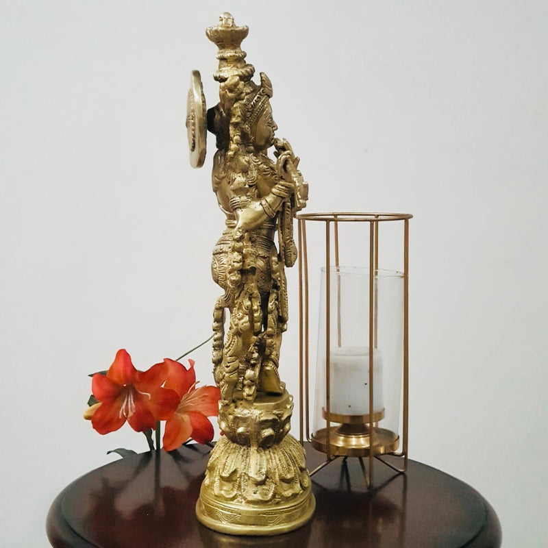 "20"" Lord Krishna Brass Idol - Decorative Figurine-Crafts N Chisel-Indian Handicrafts Online USA"