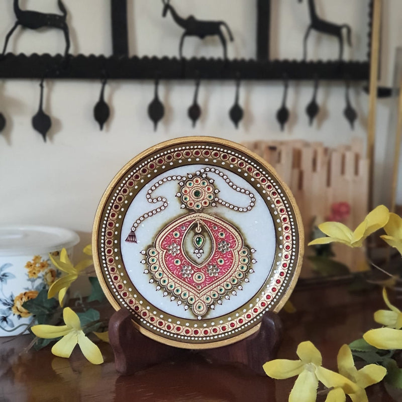 "Gold Leaf Meenakari Jewelry Painting - Decorative Round Marble 6"" Plate-Crafts N Chisel - Indian handicrafts home decor online USA"