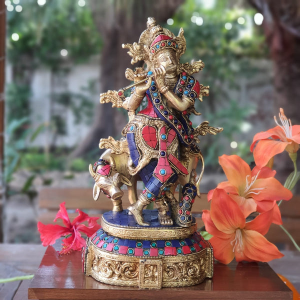 "12"" Lord Krishna & Cow idol - Brass Turquoise Inlay"