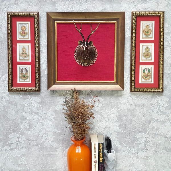 Dhokra Deer & Jewelry Painting - Fusion Wall Decor - Crafts N Chisel - Indian home decor - Online USA