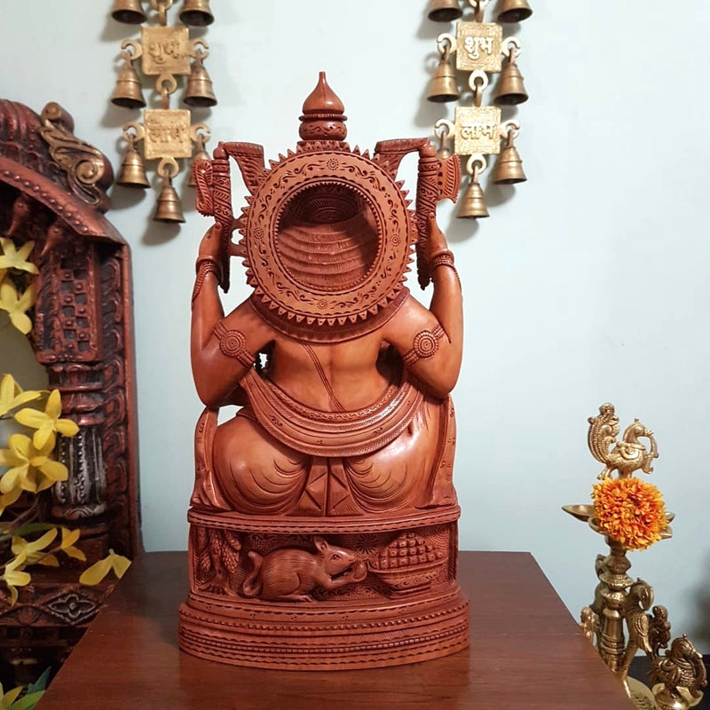 "12.5"" Lord Ganesh Wooden Idol - Decorative Figurine - Crafts N Chisel - Indian home decor - Online USA"