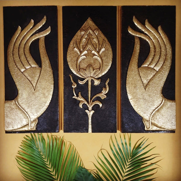 Buddha Hand and Lotus Bud Brass Wall Hanging-Crafts N Chisel-Indian Handicrafts Online USA