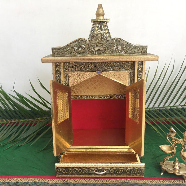 "14"" Wooden Temple (Mandir) - Crafts N Chisel - Hindu Home Decor"