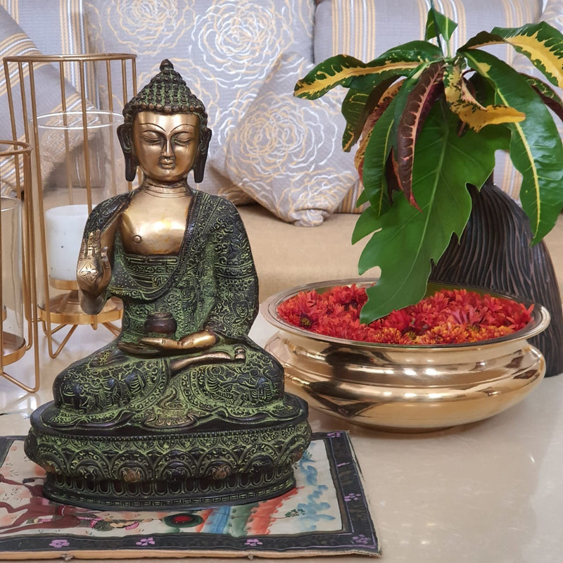 Brass Buddha idol and  Urli - Crafts N Chisel - Indian home decor - Online USA