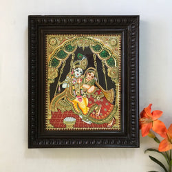 Radha Krishna Tanjore Painting - Traditional Wall Art - Crafts N Chisel - Indian home decor - Online USA