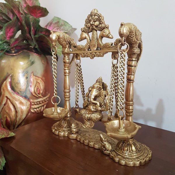 Lord Ganesh Swing Brass Idol - Diya Lamp - Decorative Figurine - Crafts N Chisel - Indian home decor - Online USA