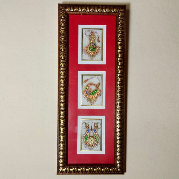 Handcrafted Jewellery Painting (Set of 2) - Home Decor - Meenakari Marble Work - Crafts N Chisel - Indian home decor - Online USA