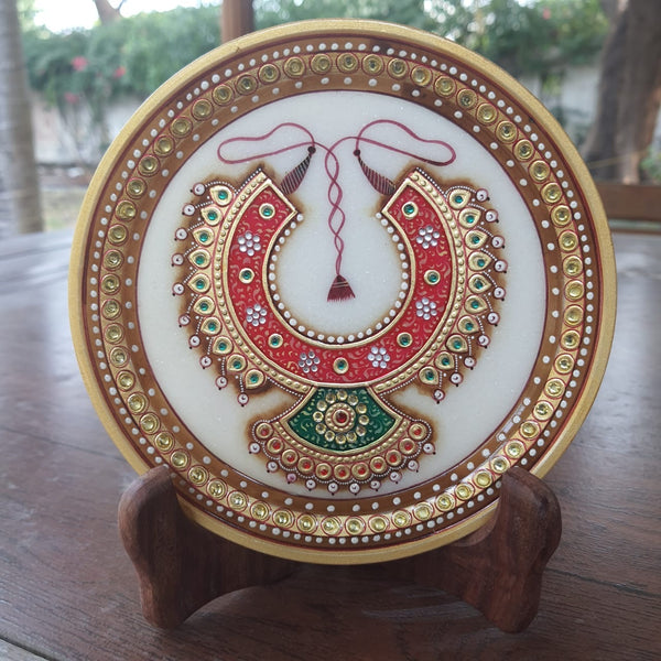"Gold Leaf Meenakari Jewelry Painting - Decorative Round Marble 6"" Plate-Crafts N Chisel-Indian Handicrafts Online USA"