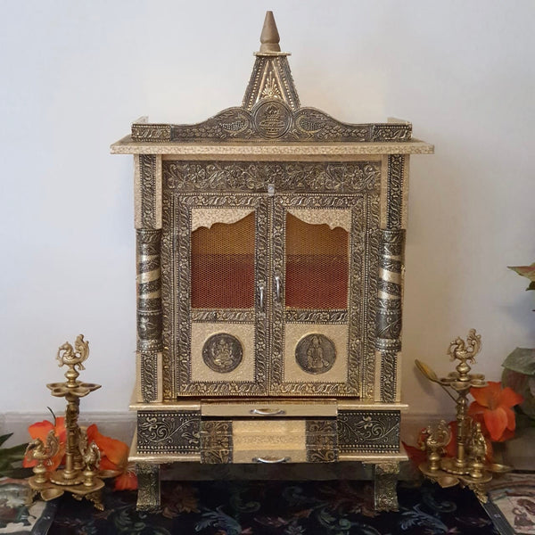 "14"" Wooden Temple (Mandir) - Crafts N Chisel - Indian home decor - Online USA"