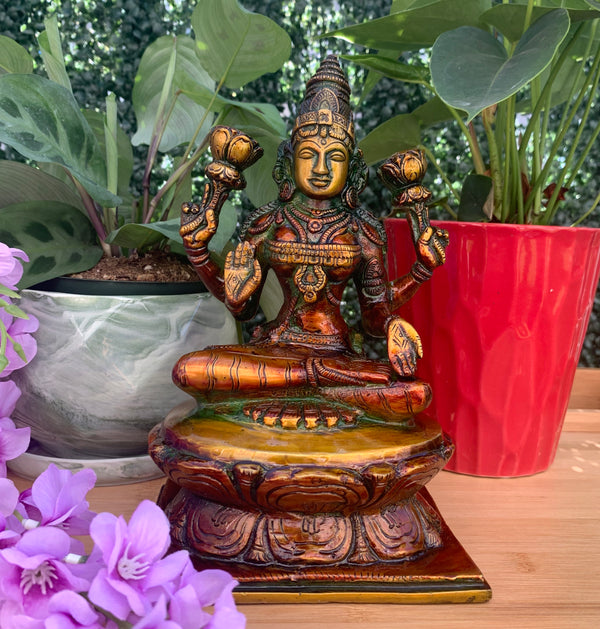 Goddess Laxmi Brass Idol - Decorative Figurine-Crafts N Chisel-Indian Handicrafts Online USA