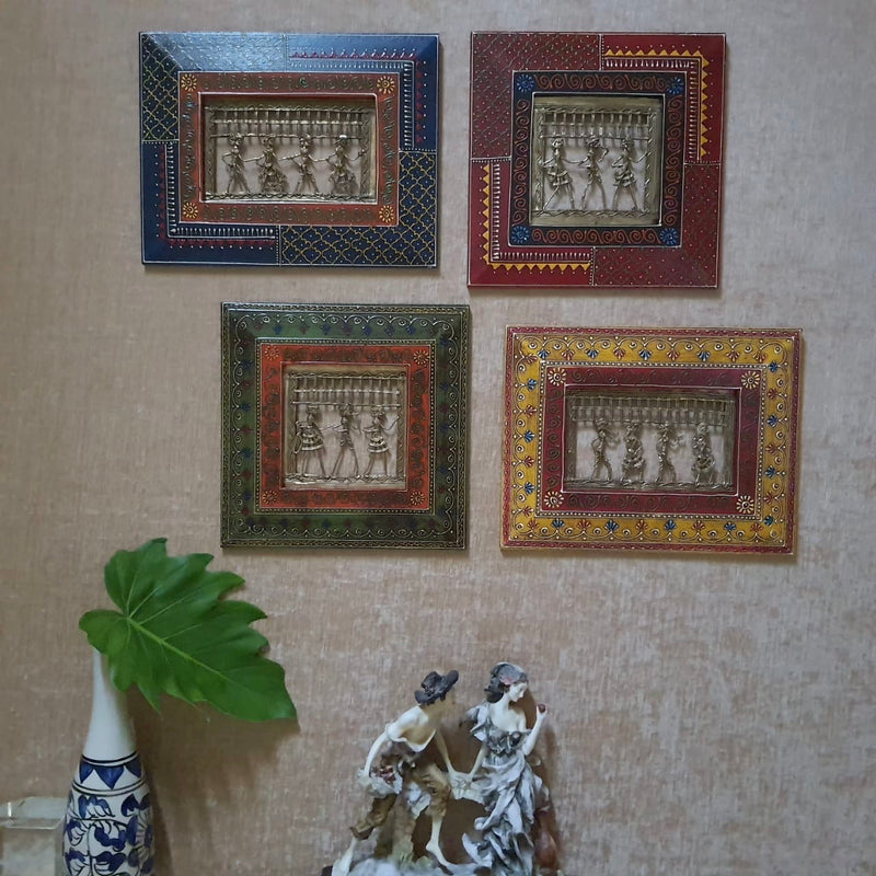 Dhokra Rajasthani Wall Hanging (Set of 4) - Wall Decor - Home Decor - Crafts N Chisel