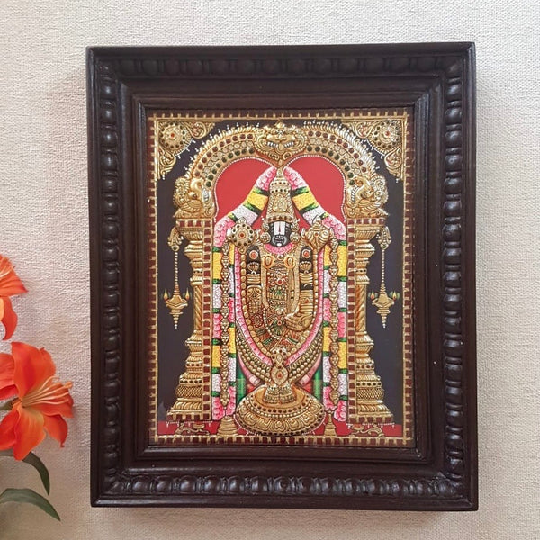 Lord Tirupati Balaji - Venkateshwara Tanjore Painting - Tradtional Wall Art - Crafts N Chisel - Indian home decor - Online USA