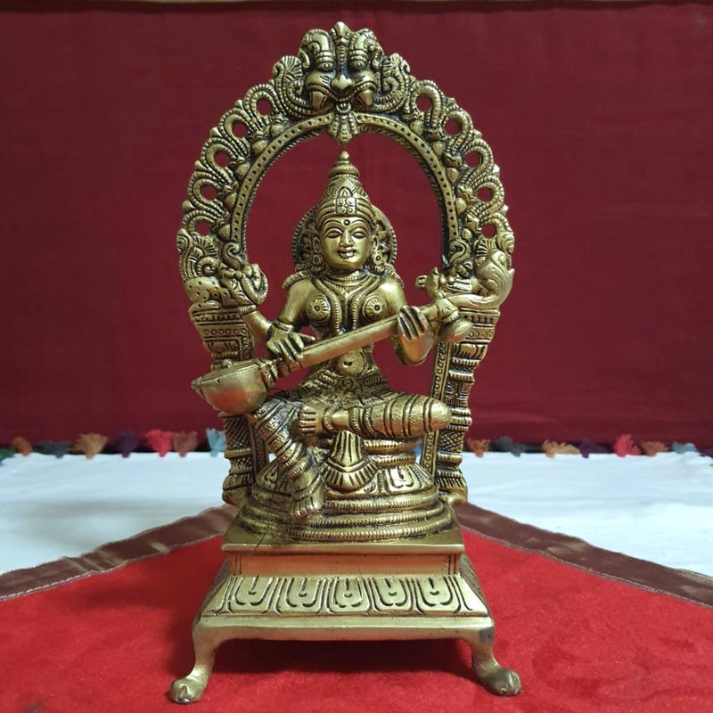 Goddess Saraswati Brass Idol - Decorative Figurine