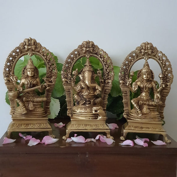 Lakshmi Ganesh Saraswati Brass Idol - Decorative Home Decor-Crafts N Chisel-Indian Handicrafts Online USA
