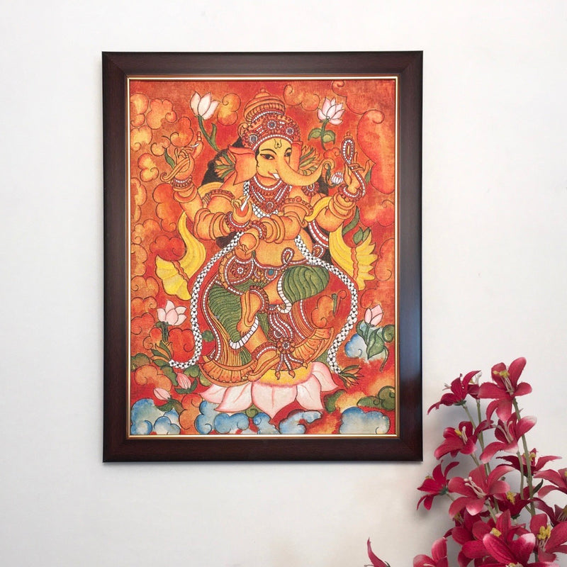 Ganesha Kerala Mural - Crafts N Chisel - Indian home decor - Online USA