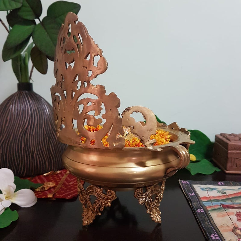"12"" Decorative Brass Urli With Lord Ganesha - Crafts N Chisel - Indian home decor - Online USA"