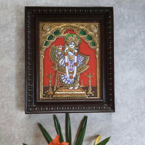 Krishna 3D Tanjore Painting - Traditional Wall Art-Crafts N Chisel-Indian Handicrafts Online USA
