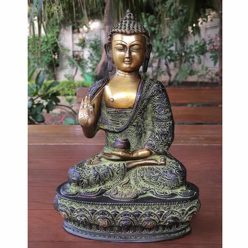 Designer Lord Buddha Idol - Brass Art - Crafts N Chisel - online indian handicrafts store USA