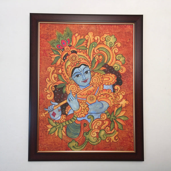 Lord Krishna Kerala Mural - Crafts N Chisel - Indian home decor - Online USA