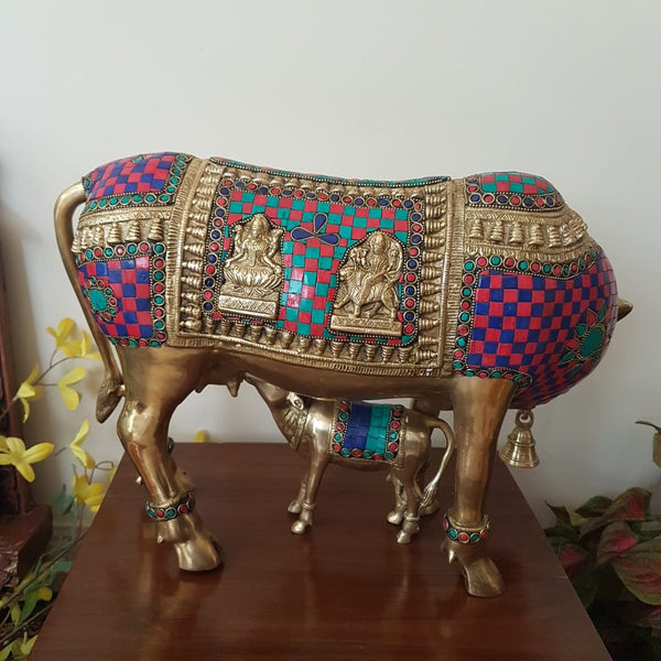 Kamdhenu Cow and Calf Set - Brass Statue Handcrafted turquoise Inlay -  Decorative Figurine