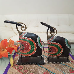 Handcrafted Decorative Metallic Bull (Set of 2) - Crafts N Chisel - Indian home decor - Online USA