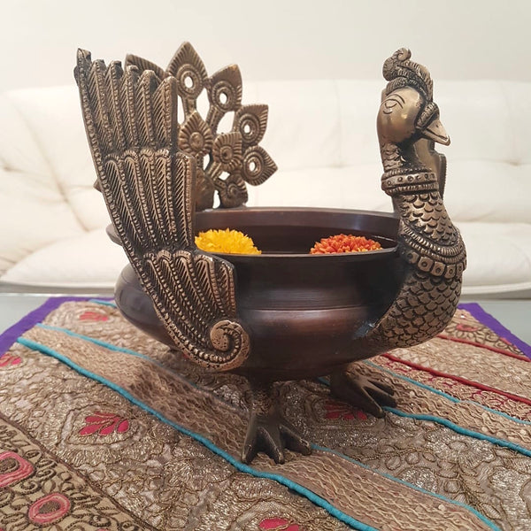 Decorative Brass Peacock Urli - Crafts N Chisel - Indian home decor - Online USA
