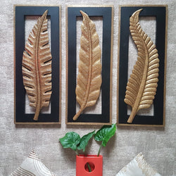 "30"" Brass Leaf Wall Hanging (Set of 3) - Crafts N Chisel - Indian home decor - Online USA"