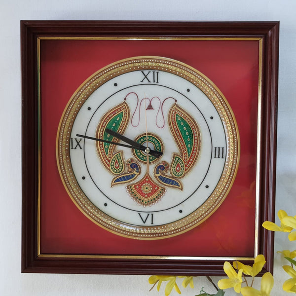 "Gold leaf 15"" Marble Clock - Meenakari Stone Art Jewelry Painting - Home Decor"