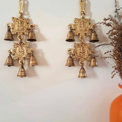 Laxmi Ganesh Brass Bell (Set of 2) - Crafts N Chisel - Indian home decor - Online USA