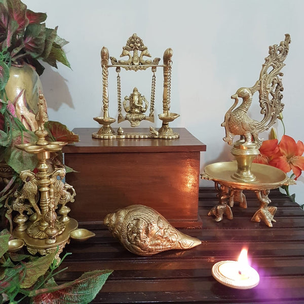 Lord Ganesh Swing, Peacock Diya & Ganesha Shank - Brass indian handicrafts statue - Crafts N Chisel USA - home decor