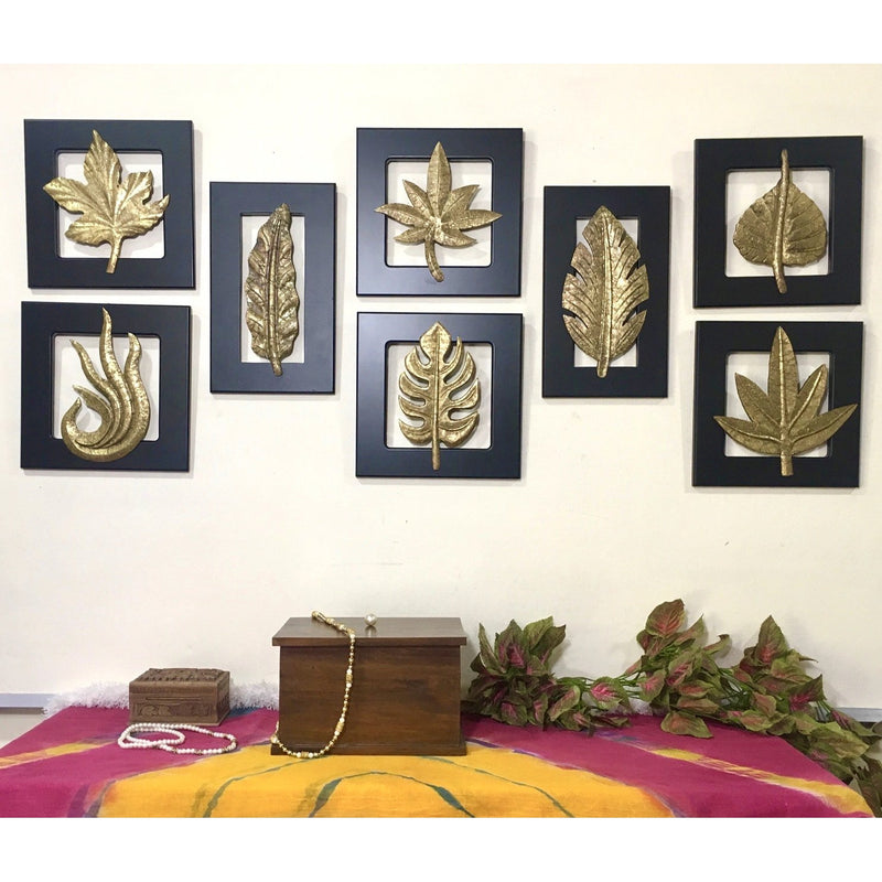 Brass Leaf Wall Hanging (Set of 8)