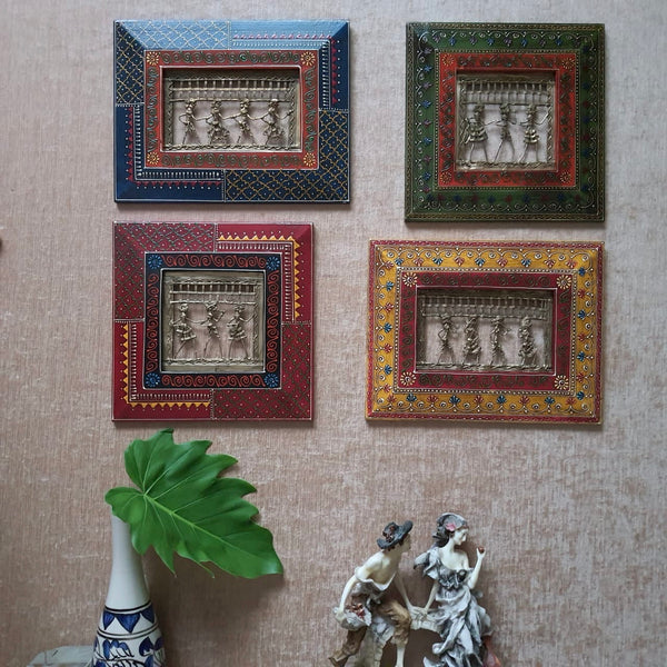 Dhokra Rajasthani Wall Hanging (Set of 4) - Wall Decor - Home Decor