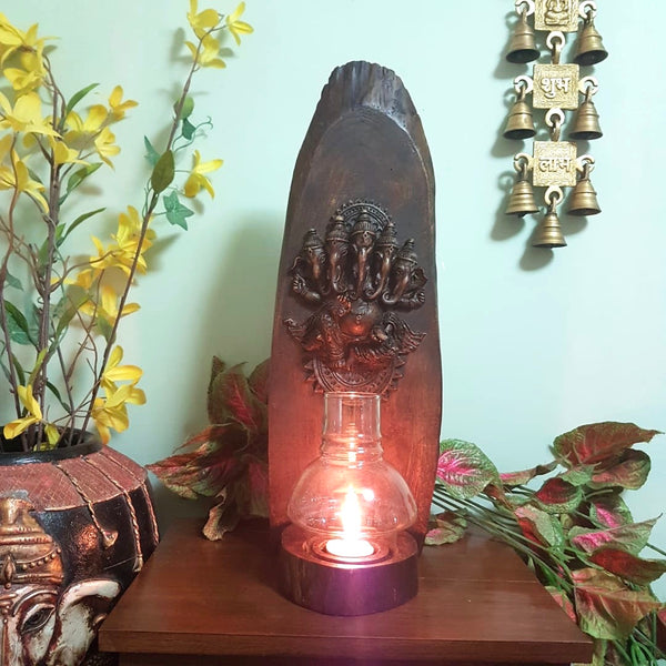 Panchmukhi Ganesha Wooden Panel Tea Light - Wall Decor - Crafts N Chisel- online handicraft USA