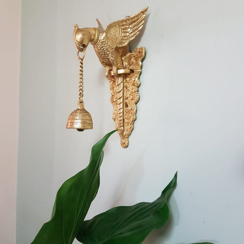 Parrot Hanging Bell (Set is 2) - Brass Wall Hanging - Decorative Antique finish