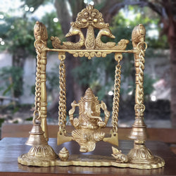 Lord Ganesh Swing Brass Idol - Brass Bell - Traditional Home Decor-Crafts N Chisel-Indian Handicrafts Online USA