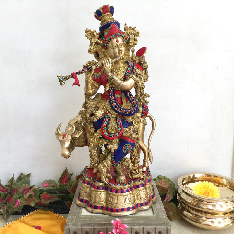 "26"" Lord Krishna idol - Brass Turquoise Inlay - Crafts N Chisel - Divine Collection - Home Decor"