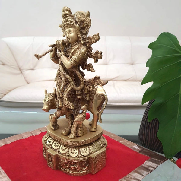 "12"" Lord Krishna & Cow idol - Brass Statue-Crafts N Chisel - Indian handicrafts home decor USA"