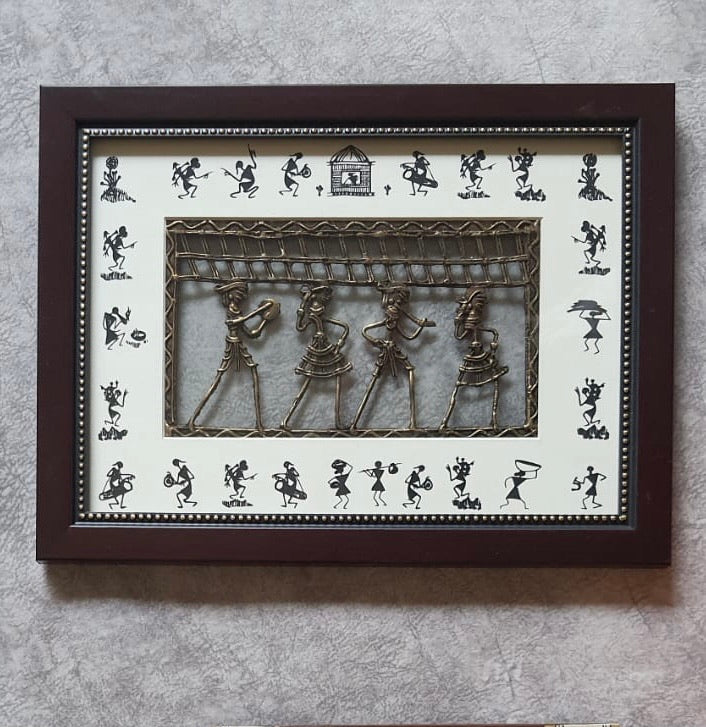 Dhokra & Warli Art Wall Hanging - Wall Decor - Home Decor-Crafts N Chisel-Indian Handicrafts Online USA